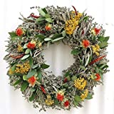 Safflower and Herb Natural Dried and Preserved Wreath – 15""