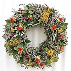 "Safflower and Herb Natural Dried and Preserved Wreath – 15"" 6"