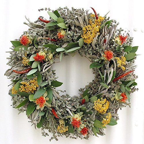 Safflower and Herb Natural Dried and Preserved Wreath - 15