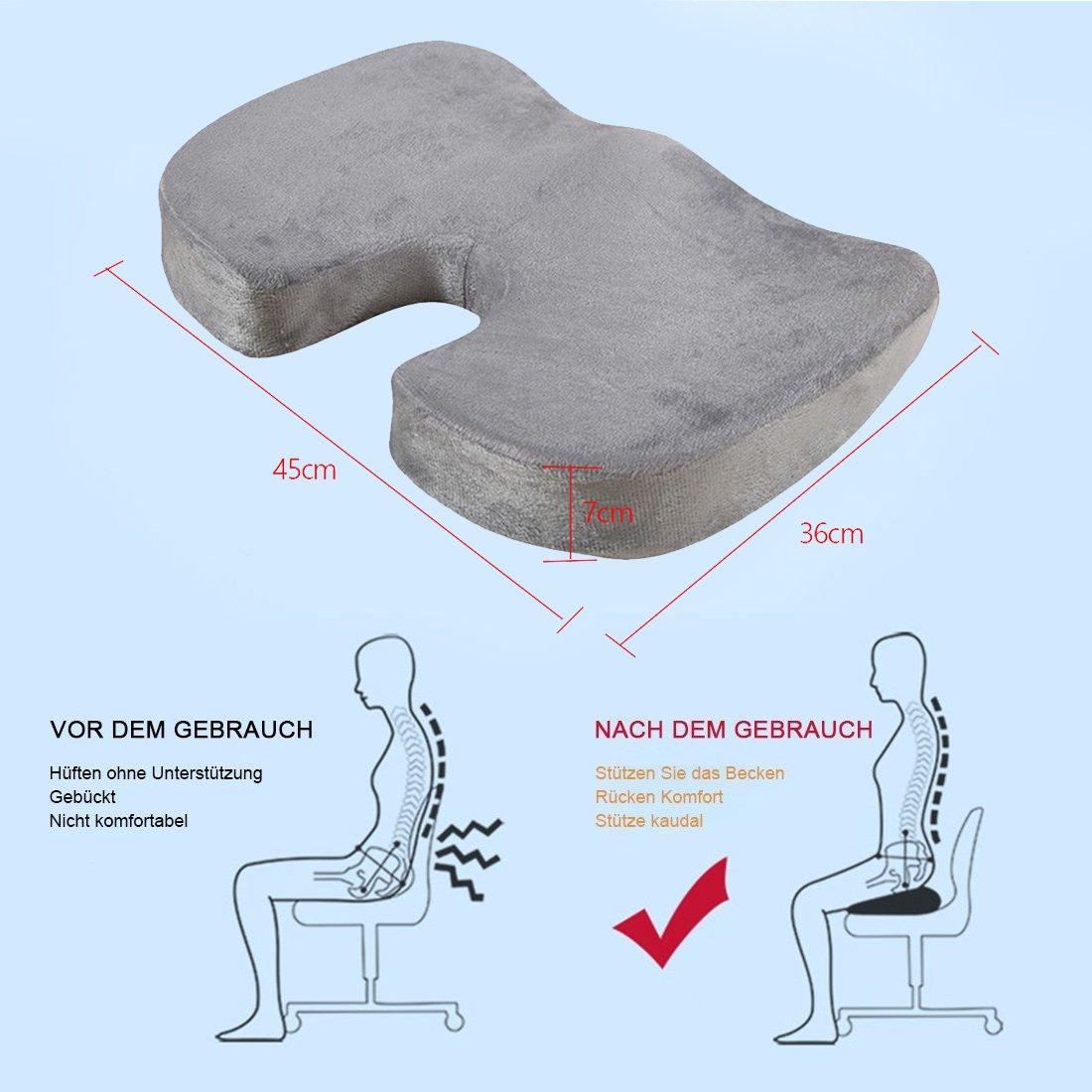 Gel de asiento Cojín Almohada Ortopédica de espuma de gel con ...