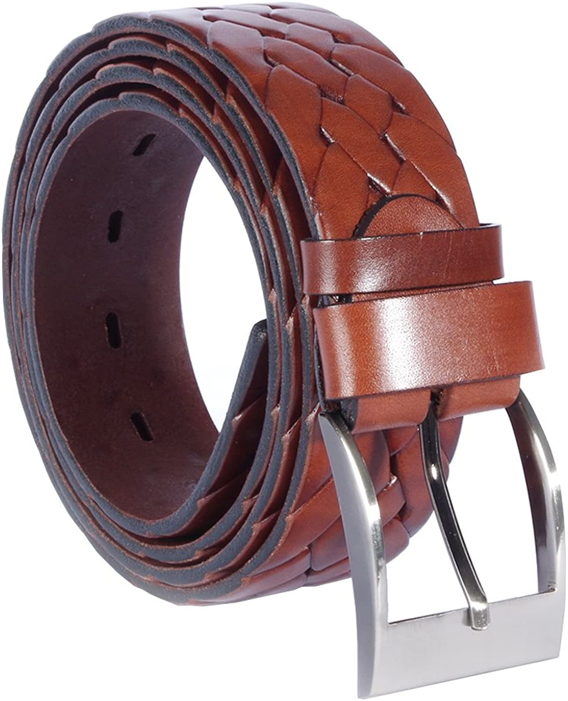 Cinturón tejido de cuero trenzado para hombres - Cafe chocolate – Cuero de vegetal bronceado de calidad genuina - 4 cm de ancho - Hecho a mano en Europa - Varias longitudes