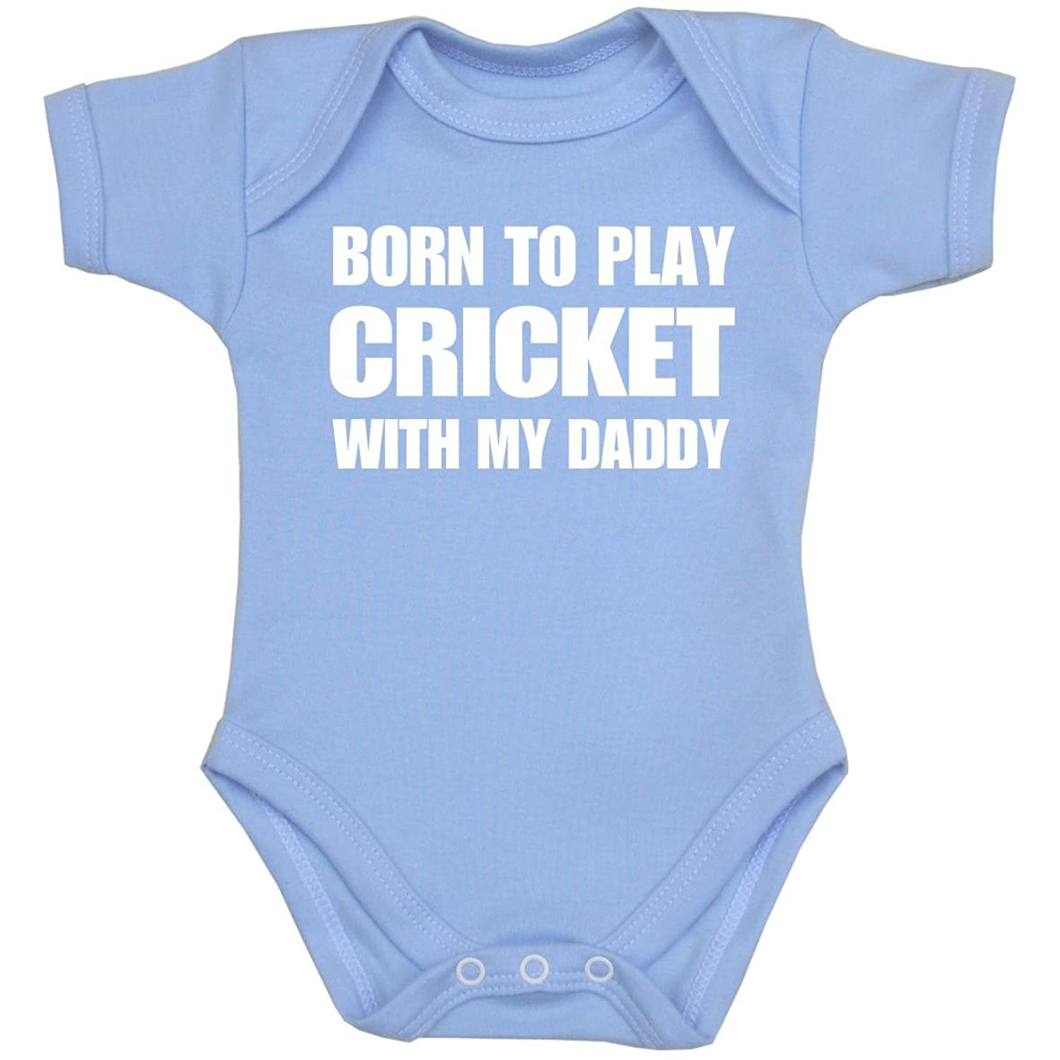 1 Born to Play Cricket with my Daddy Baby Clothes Bodysuit Vest NB