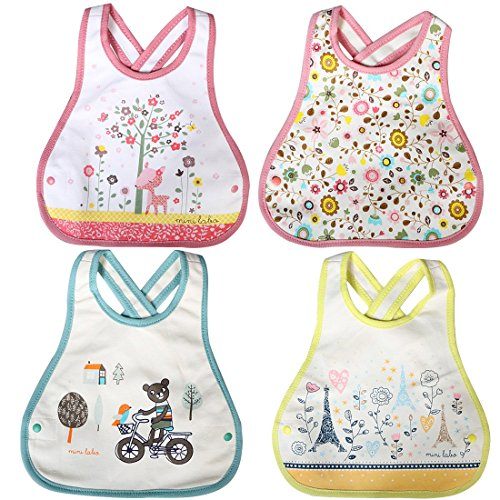 (KF Baby 4pc Soft Waterproof Cotton Absorbent Wrap Snap Lock Drooler Bibs Set)