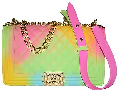 Amazon.com: Color Bolsos de hombro de las señoras de PVC de ...