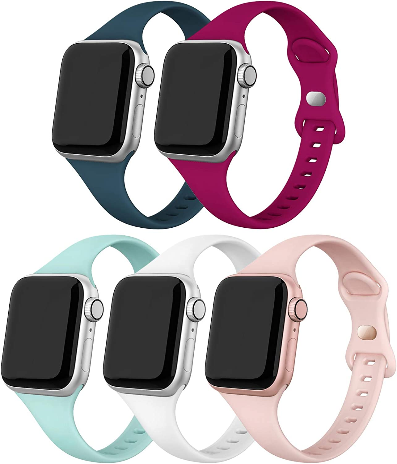 EDIMENS Sport Band Compatible with Apple Watch 38mm 40mm, 5 Packs Soft Silicone Slim Thin Small Narrow Replacement Wristband Compatible for iWatch Series 6 5 4 3 2 1 SE Sport Edition Women Men