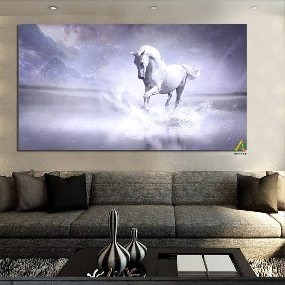 Caballo blanco corriendo en el río pintura moderna lienzo pintura pintura arte de la pared imagen sala de estar decoración del hogar A 50 x 100 cm Unframe