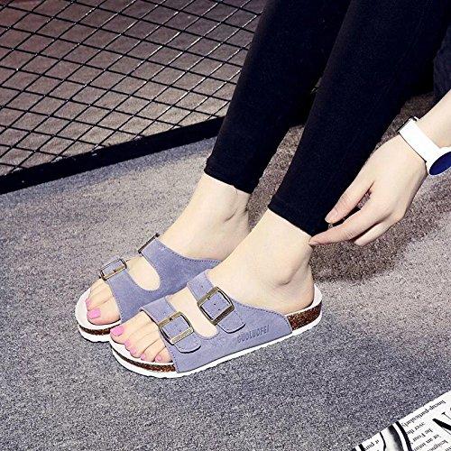 Xing Lin Sandali Di Cuoio Uomini Sandali Estate Antiscivolo E Piatto Ottimo Per Coppie Le Scarpe Da Spiaggia Cork Pantofole Cool Pantofole Femmina Standard 46 109 Mucca Peluche Fibbia Doppia Brown
