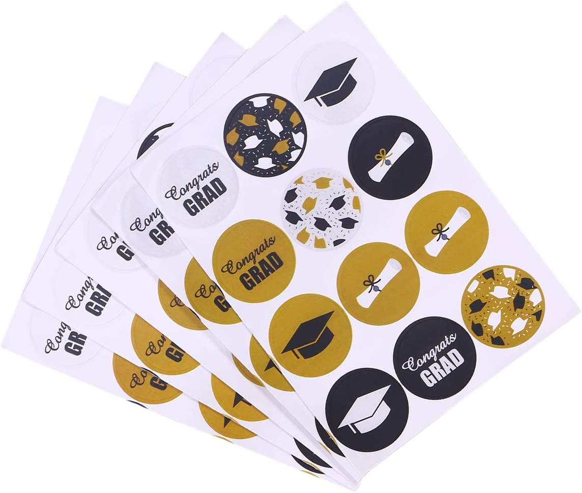 BESTOYARD 20 Fogli Adesivi di Laurea Adesivi Gradazione Gradiente Etichette Adesivi sigillanti di Carta Kraft Adesivi Decalcomanie Cappellini e diplomi per la Cerimonia di Laurea Decor