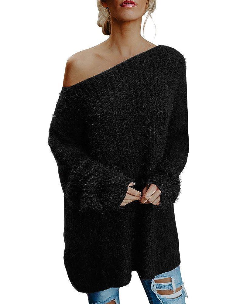Minetom Donne Maglia Manica Lunga Senza Spalline Maglione Oversized Maglieria Knit Pullover Maglioni Tops JQ171219XJ-DE04
