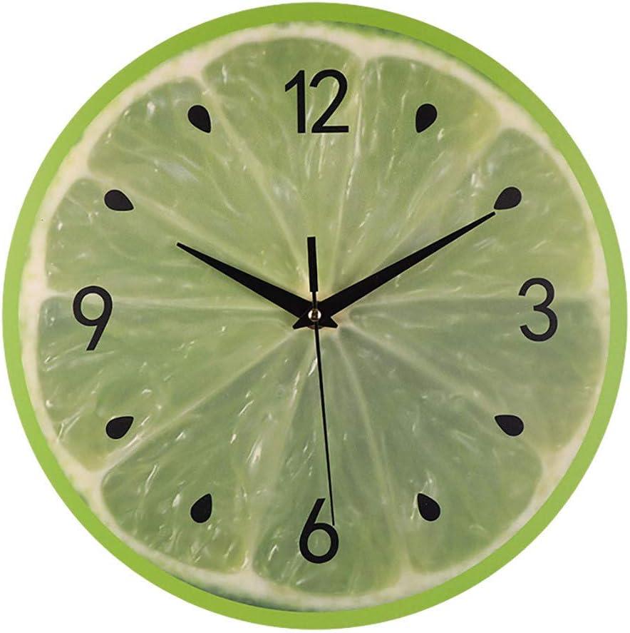 Style De Pays Simple Rond Horloge Et Trotteuse Silencieuse pour La Chambre Salon Muet Horloge Murale D/éCor ZYUEER Horloge Murale Imprim/é des Fruits Multicolore A