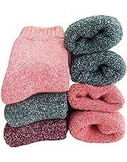 Calcetines de lana supergruesos para mujer, suaves, cálidos, cómodos, informales, de invierno, (paquete de 3-5), multicolor