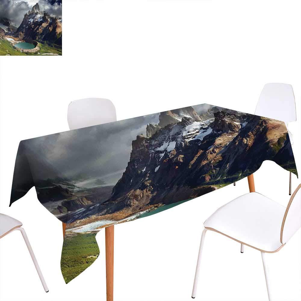 familytaste 風景 ディナー ピクニック テーブルクロス モレーヌ 湖 ロッキー山 カナダ 夏 森 トール 新鮮な木 イメージ 防水 テーブルカバー キッチン アクアブルー グリーン W50