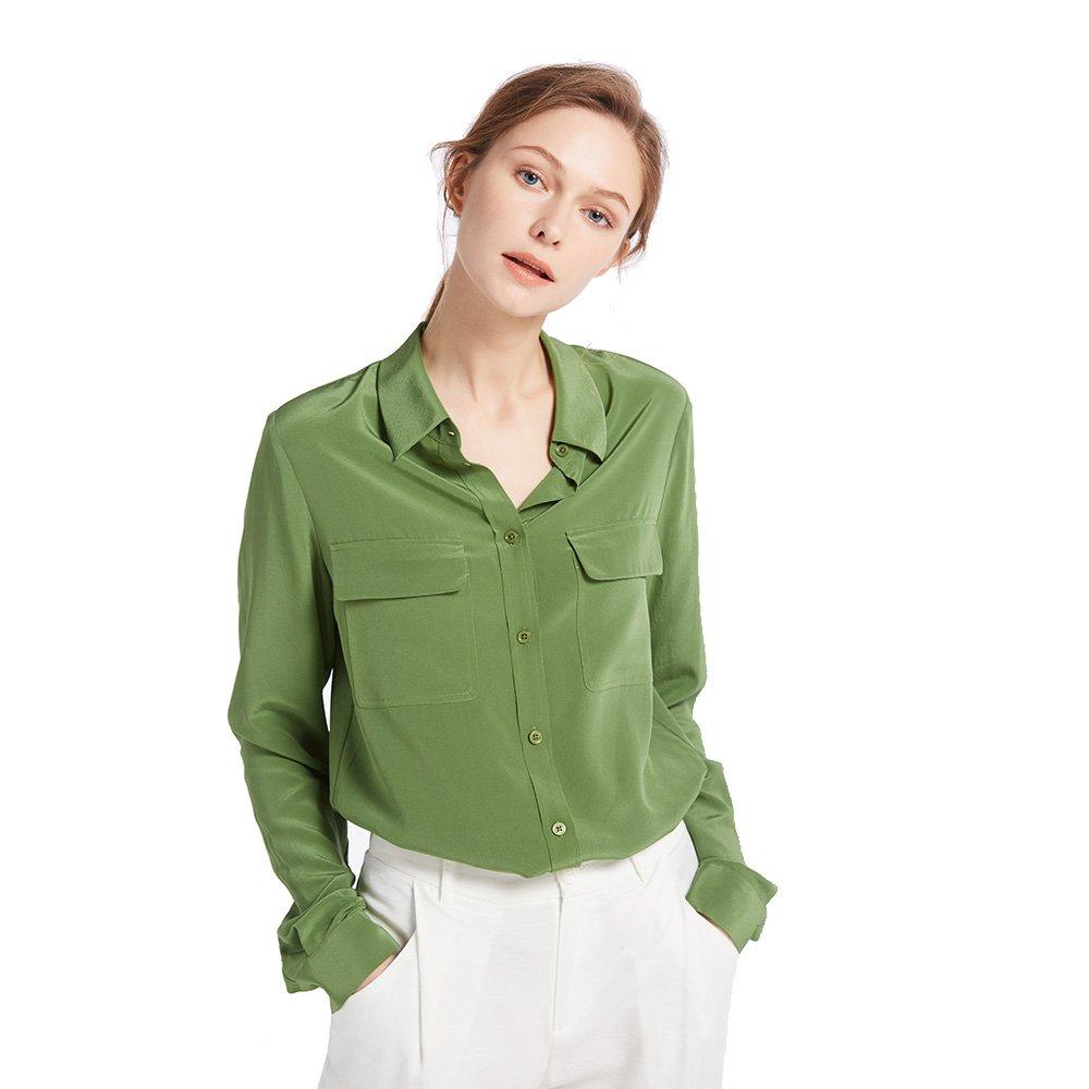 Kale Green LilySilk Women's Silk Shirt 18 Momme Long Sleeves 100% Pure Silk Blouse Tops