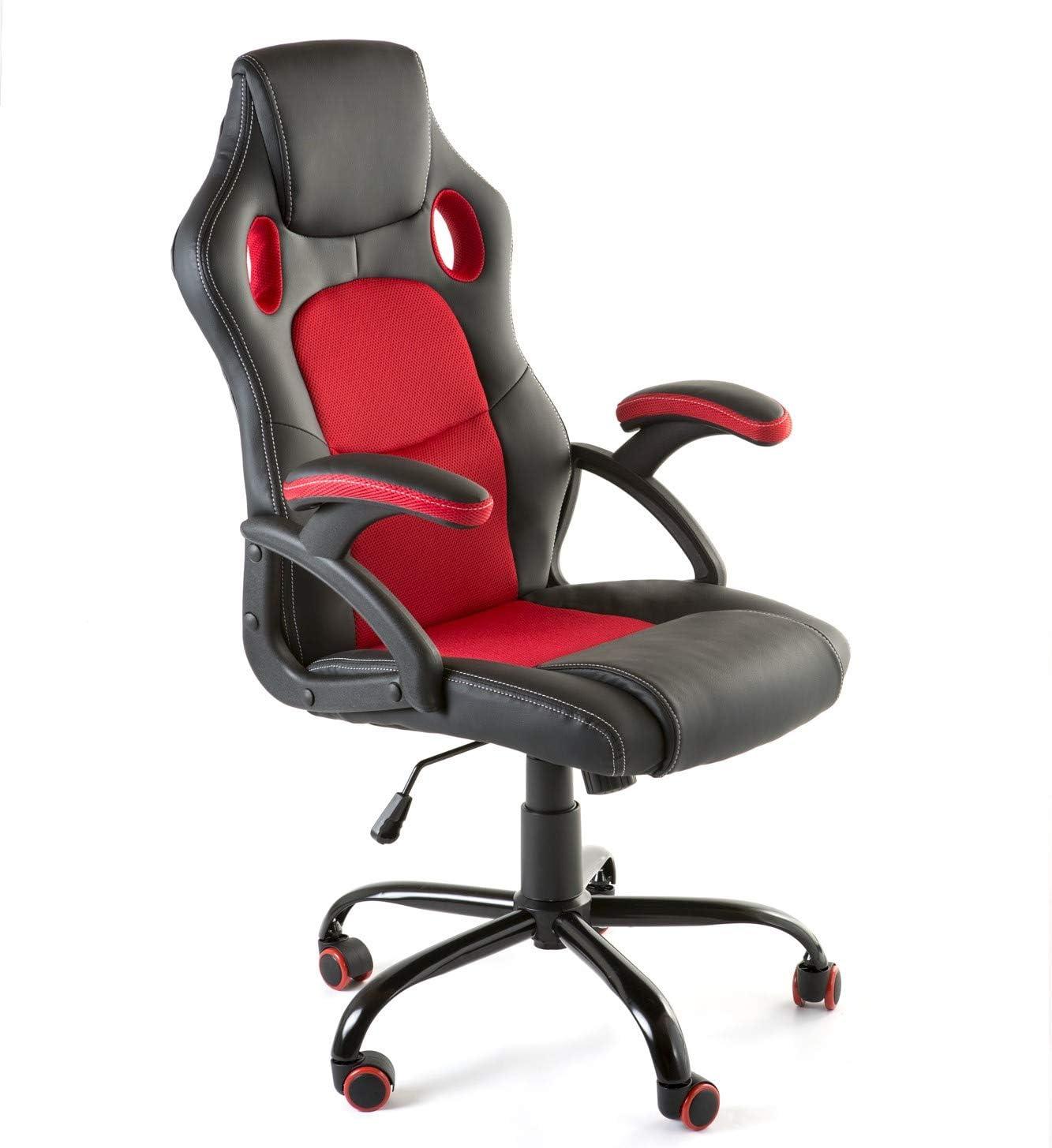 Home Heavenly®- Silla X-Gamer, de Oficina, sillón Gaming ergonómico, diseño de Oficina y despacho, Escritorio, con Ruedas (Rojo)