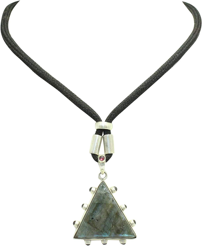 Rajasthan Gems - Colgante de plata de ley 925 con piedra natural de labradorita y granate, hilo negro
