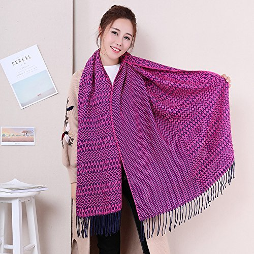 HOMEE Pink Scarf Shawl Collar Female Thickening in Autumn and Winter Warm,Rose red by HOMEE
