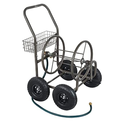 palm springs 4 wheel portable garden hose reel cart on wheels holds 250ft garden hose - Garden Hose Reel Cart