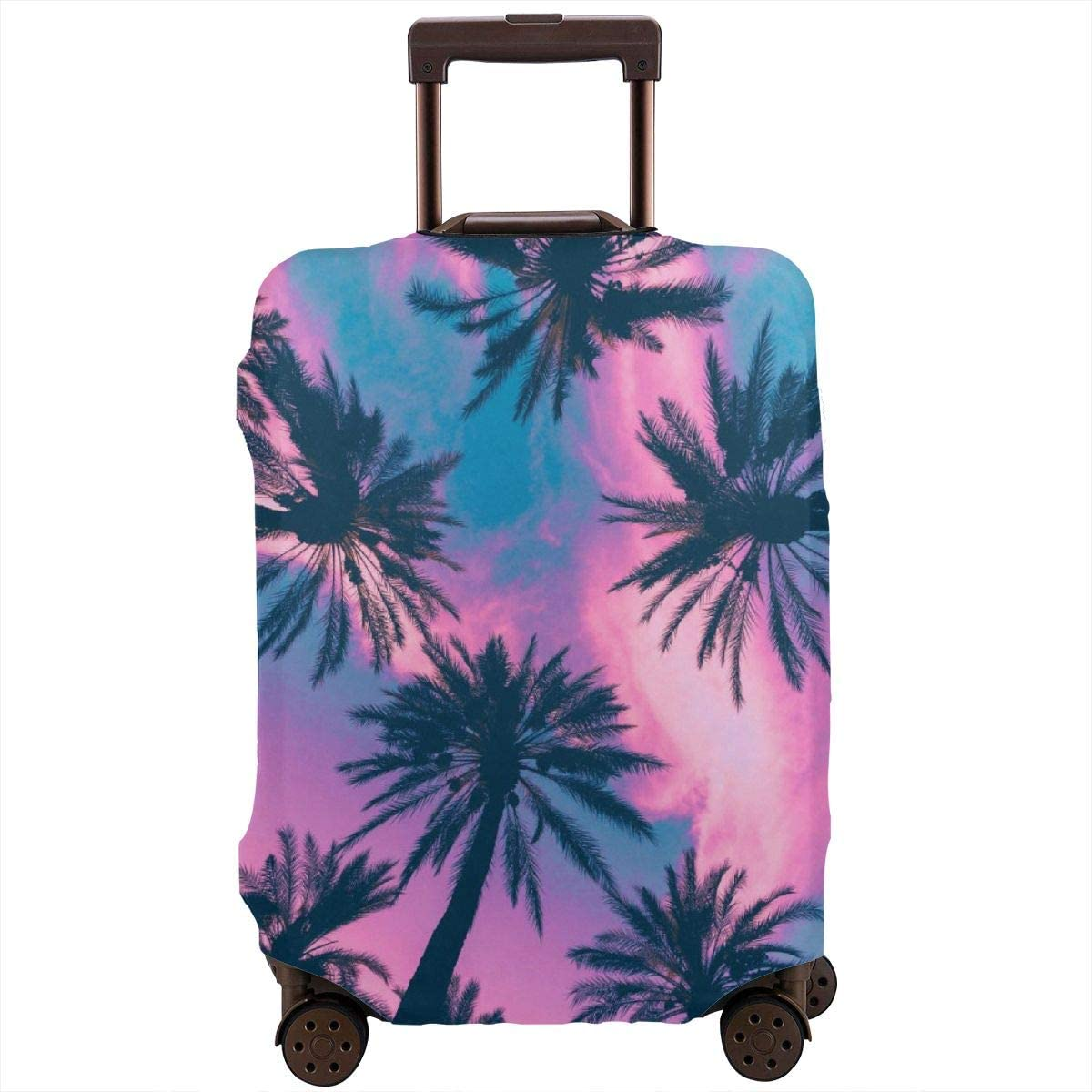 Travel Luggage Cover Spandex Suitcase Protector Washable Baggage Protective Covers Pink Palm Trees Sea Dusk Fits 18 To 32 Inch