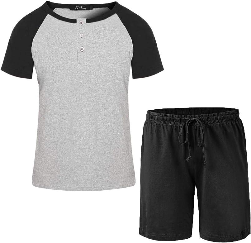iClosam Pijamas para Hombre Colores Lisos Cuello Redondo Short Set Pijama para Hombres: Amazon.es: Ropa y accesorios