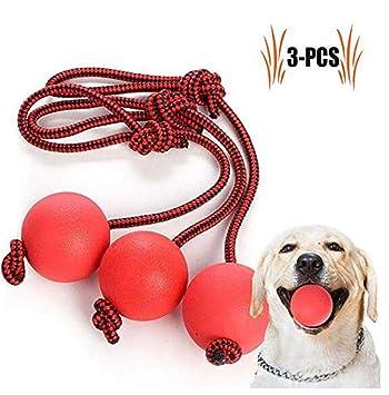Smy&Pet Pet Pelota Roja para Perros, 3 Pelotas Elásticas para ...