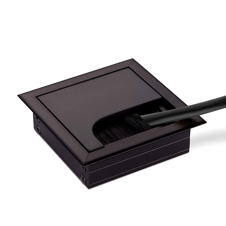LIKERAINY Pasacables Mesa Oficina Cable Gl/ándula Rectangular 80x 280mm para Encastrar en Escritorio Cable Salida Angular Aluminio Acabado Plata Anodizado Organizador de Alambre 2 Piezas