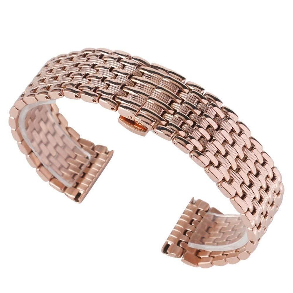 YXFYXF klockband, rem, klocktillbehör rosguld rem 18 mm 20 mm 22 mm armband solid länk justerbar rostfritt stål klockban. (Färg: 22 mm) 18 mm