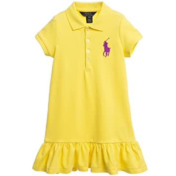 Ralph Lauren Girls Yellow Big Pony Ruffle Polo Dress (2 2T)