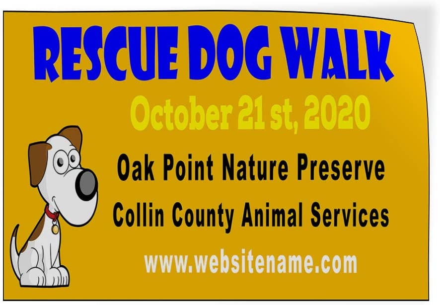 Custom Door Decals Vinyl Stickers Multiple Sizes Rescue Dog Walk Date Message Yellow Business Rescue Dog Walk Outdoor Luggage /& Bumper Stickers for Cars Yellow 42X28Inches Set of 5