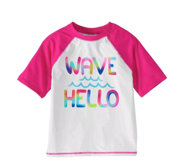Amazon.com: Wonder Nation Niñas Wave Hello Rash Guard camisa ...