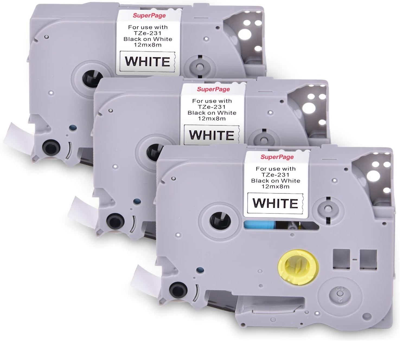 nero su bianco 3 Superpage TZe-231 TZ231 TZE231 Nastro kompatible Brother P-Touch Kassette mit laminierten Etiketten 12 mm x 8 m per Brother PT-1000 GL-H100 GL-H105 GL-200 PT1080 PTP700 PTH300