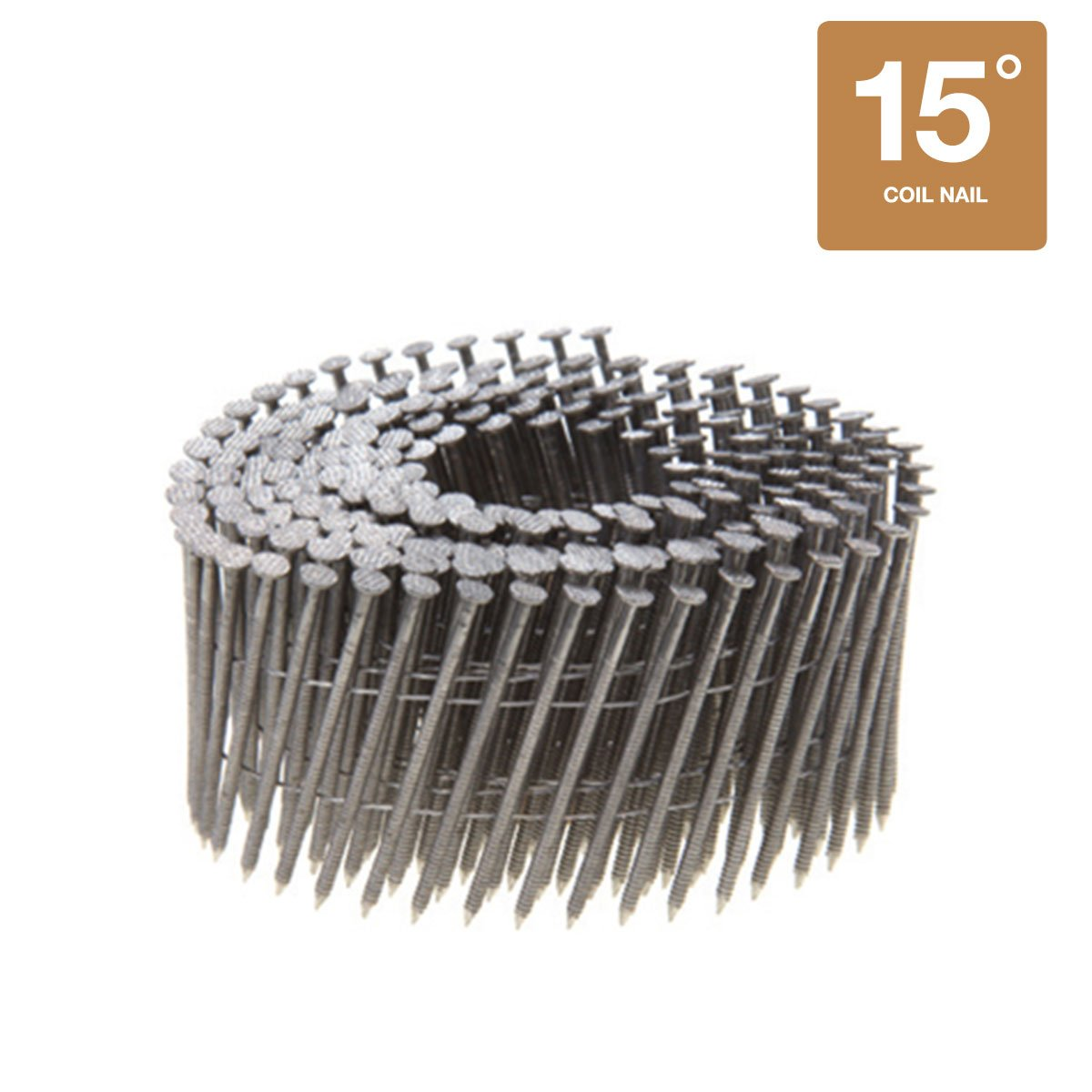 15 Degree Wire Coil Collated Nails - 304 Stainless Steel - 3600 Count Box (1-1/4'' x 0.090'' Siding Nails)