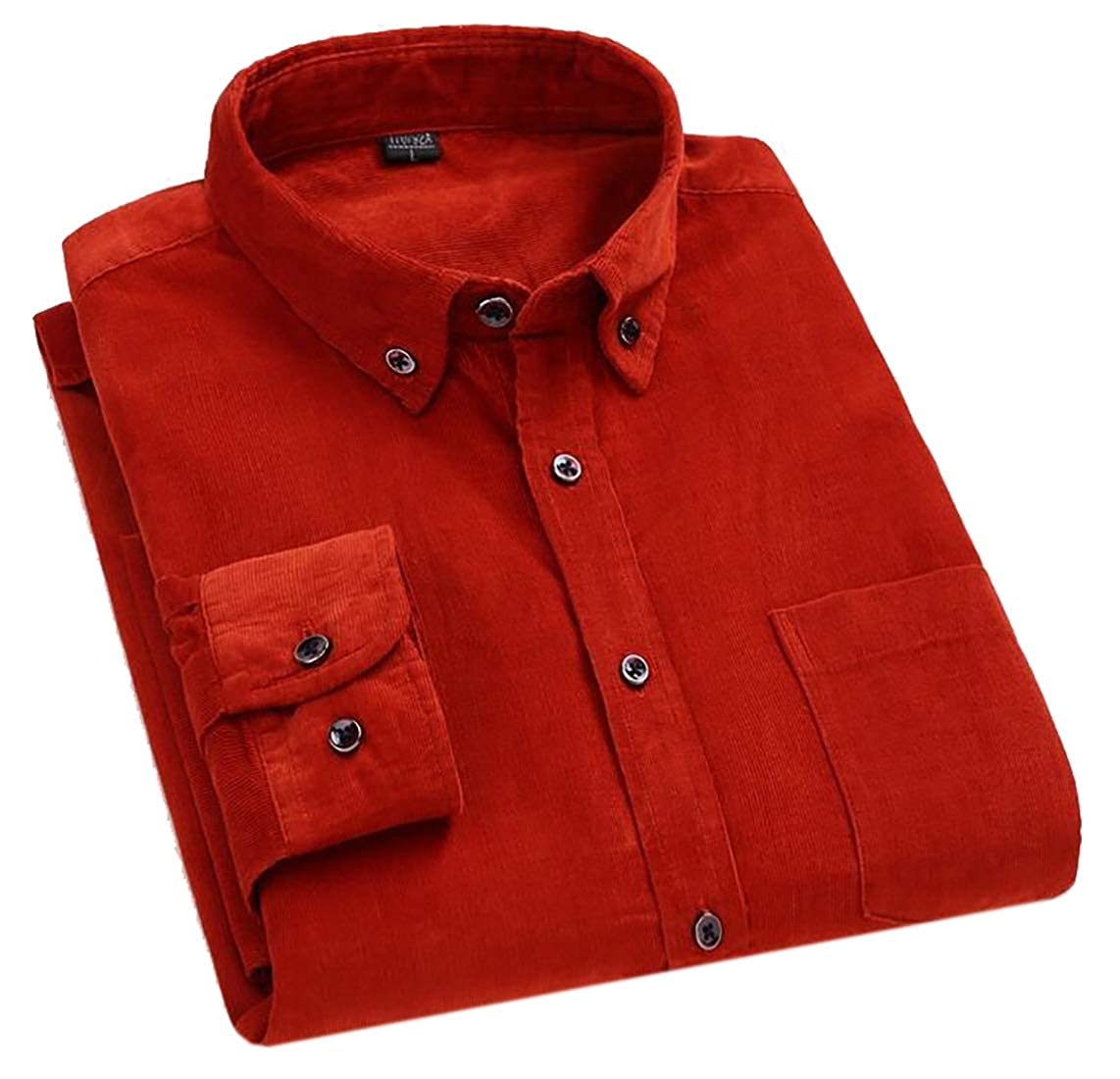 Domple Men Long Sleeve Slim Single Pocket Corduroy Button Front Shirt