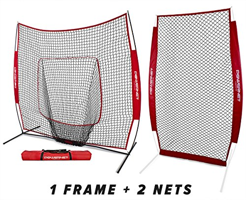 PowerNet Baseball Softball Practice Net 7x7 Bundle + I-Screen (1 Frame + 2 Nets) | Training Aid Equipment | Instant Pitcher Barrier from Line Drives Grounders | Front Toss | Hitting Fielding Drills ()