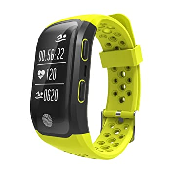 Rungao Pulsera Smart inteligente con sensor de ritmo cardíaco, GPS, monitor de sueño, podómetro, resistente al agua-Amarillo