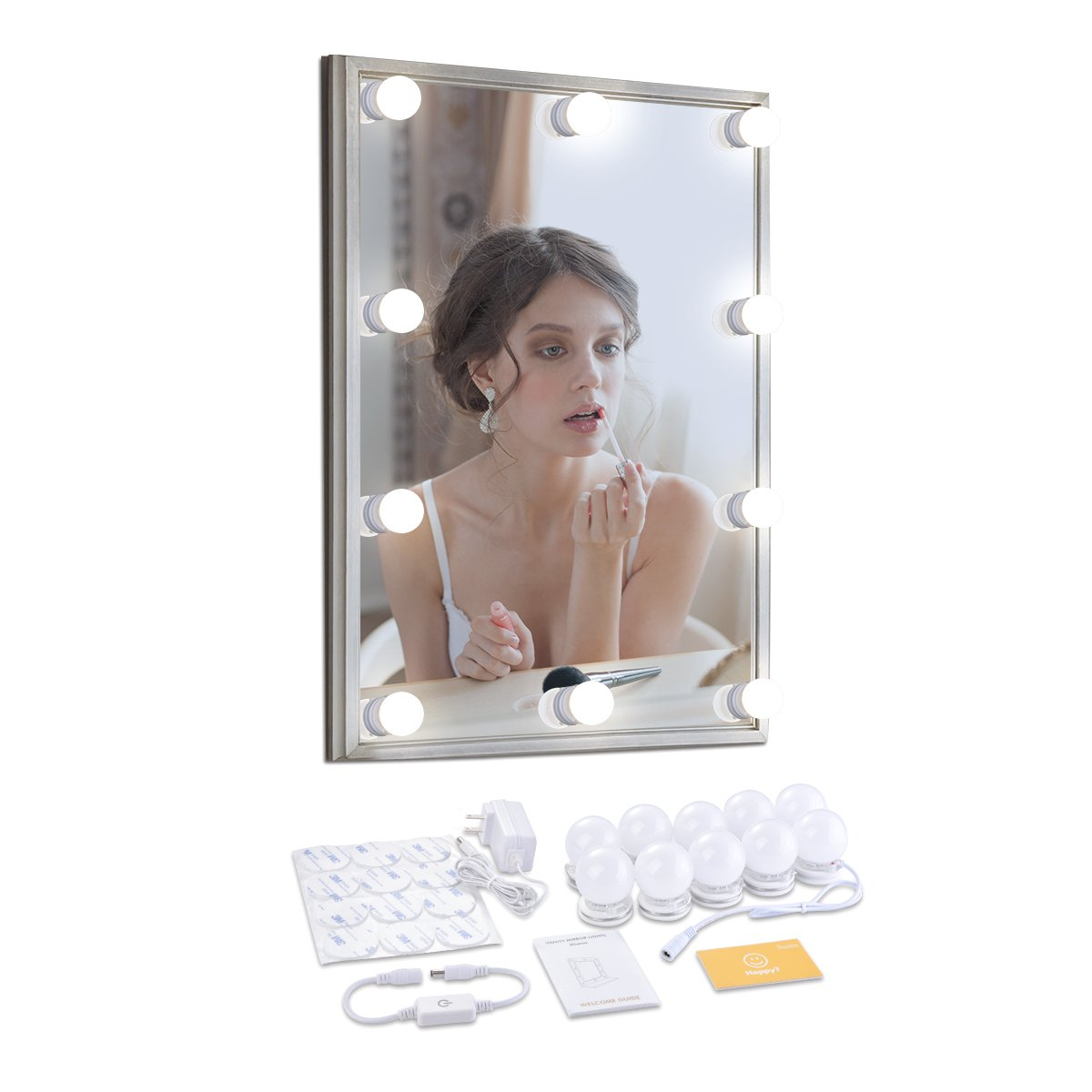 Memoru Hollywood Style LED Vanity Makeup Mirror Lights Kit with 10 Dimmable Light Bulbs Adjustable Lighting Fixture Strip 12ft. for Makeup Mirror in Bedroom Dressing Room Bathroom, Natural White