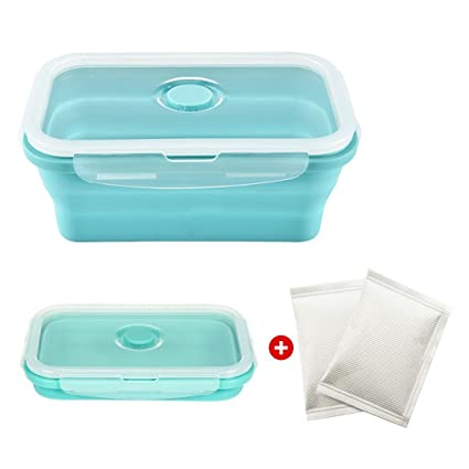Genial JINCH Silicone Flameless Cooker Collapsible Lunch Box Food Storage  Containers With 2 Heating Pack For Camping