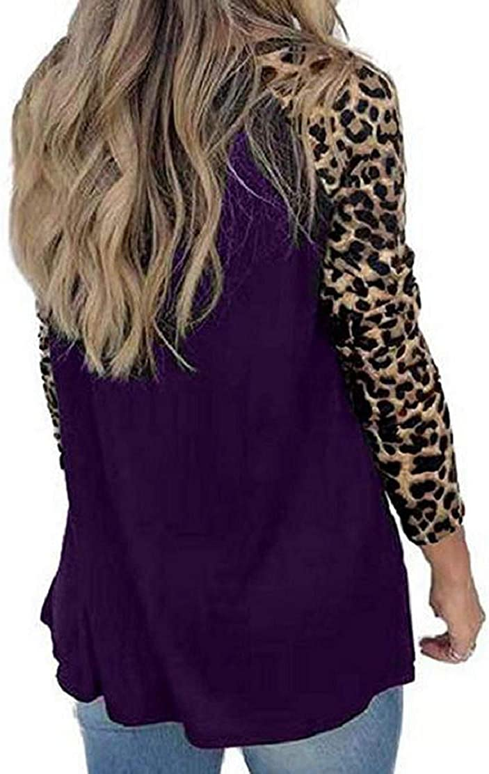 Women Casual T Shirts Leopard Print Patchwork Tops Loose Crewneck Long Sleeve Pullovers Blouses with Pockets Sopzxclim