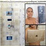 Fangkun iPad Mount Clear Shower Curtain Liner - 4 Touch-sensative Pockets - Waterproof Tablet or Phone Holder - EVA…