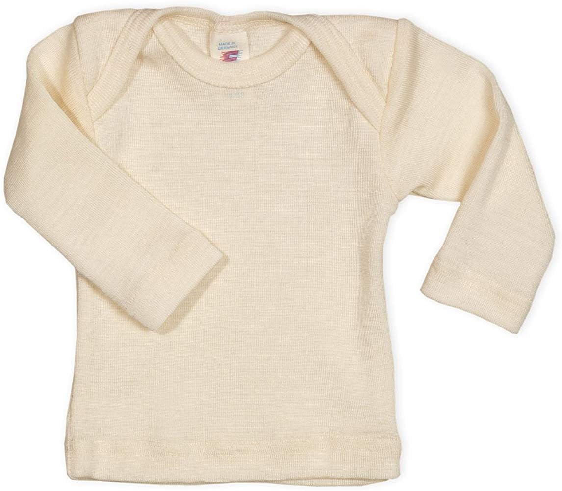 Long Sleeves Hocosa Organic Wool-Silk Baby Shirt Envelope Neckline.