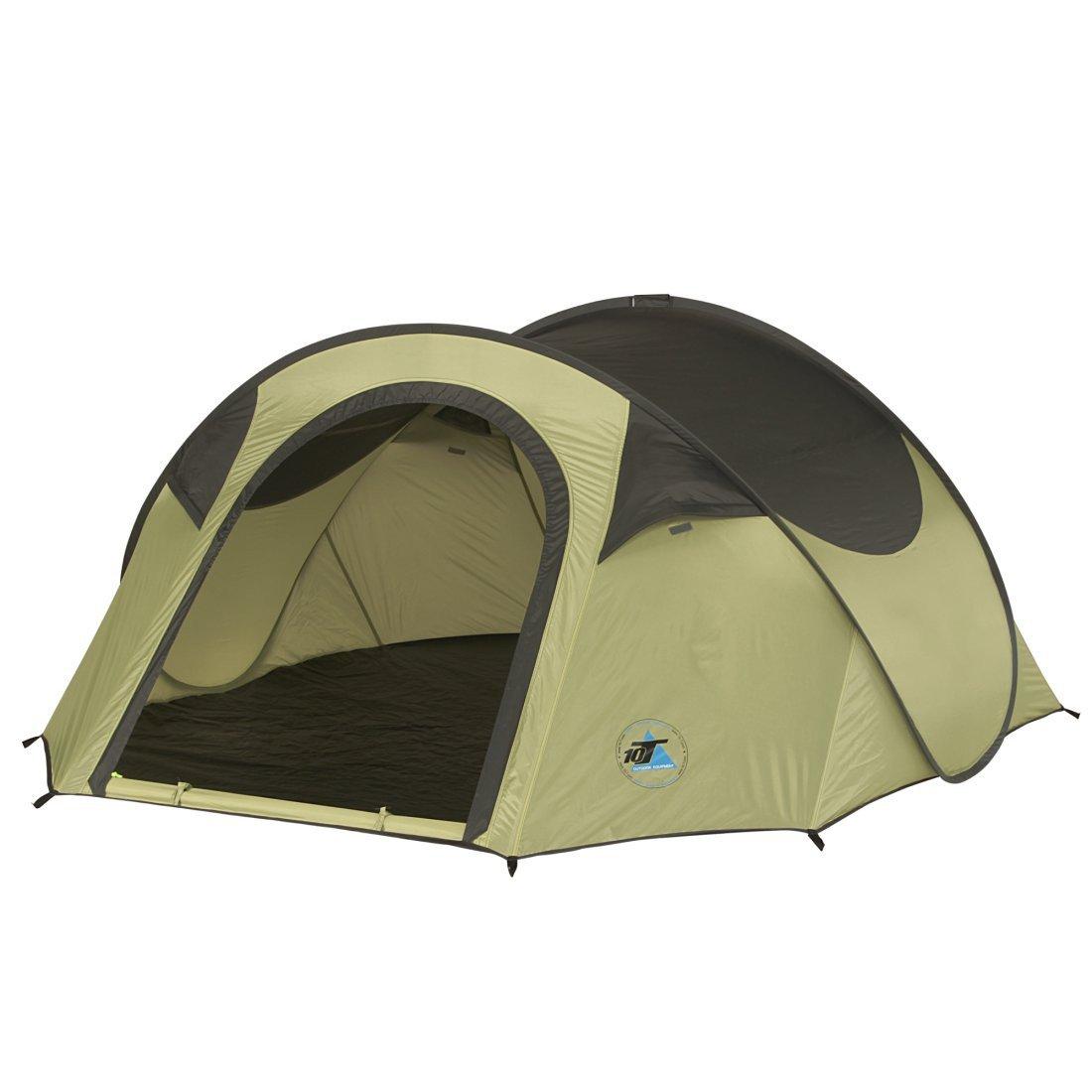 10T Camping-Zelt Taree 3 Pop-Up Wurfzelt mit Schlafbereich für 3 Personen Automatik-Zelt mit eingenähter Bodenwanne, Dauerbelüftung, wasserdicht mit 2000mm Wassersäule