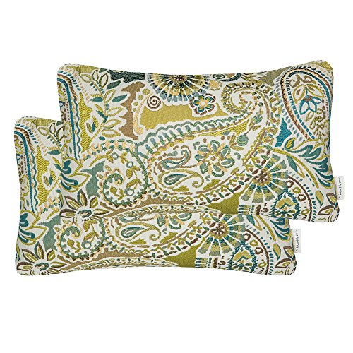 Oblong Pack - Mika Home Pack of 2 Oblong Rectangular Throw Pillow Cover Cushion Cases for Sofa Couch Chair,Paisley Pattern,12x20 Inches,Green Brown Cream Multicolor