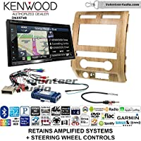 Volunteer Audio Kenwood DNX574S Double Din Radio Install Kit with GPS Navigation Apple CarPlay Android Auto Fits 2009-2010 Ford F-150 (Ash Satin)