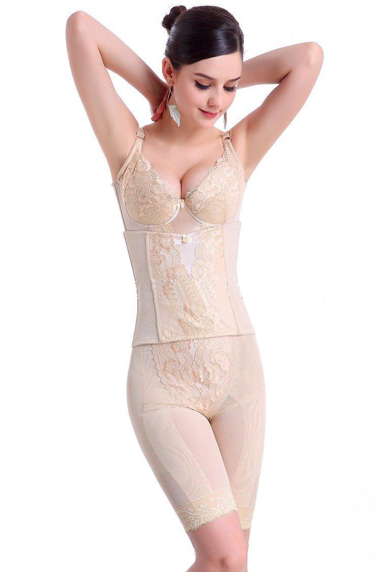 Ya Lida Slimming abdomen hips waist corset Apricot three piece