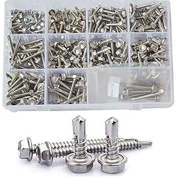 SNUG Fasteners 100 Qty #10 x 1 Zinc Hex Washer Head TEK Self Drilling Sheet Metal Screws SNG64