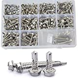 Hex Self Drilling Washer Head Sheet Metal Tek Screws With Drill Point Assortment Kit(#8 #10 #14),304 Stainless Steel,295pcs