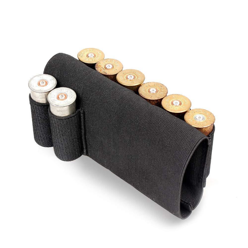 Gexgune Chasse Fesses Fonc/é Noir Jauge 12 Jauge Tactique Chasse Fesses Fusil Cartouche Shell Titulaire Airsoft Fusil Fesses