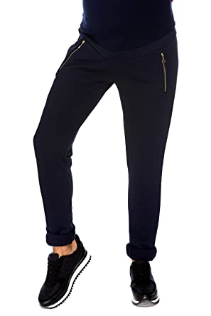 My Tummy Maternity Pants Trousers Sports Kim Relaxed Jogging Navy Zippers Xl X Large Amazon Co Uk Clothing