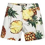 SSLR Women's Pineapples Pleated High Waist Tropical Casual Hawaiian Shorts (32, White)