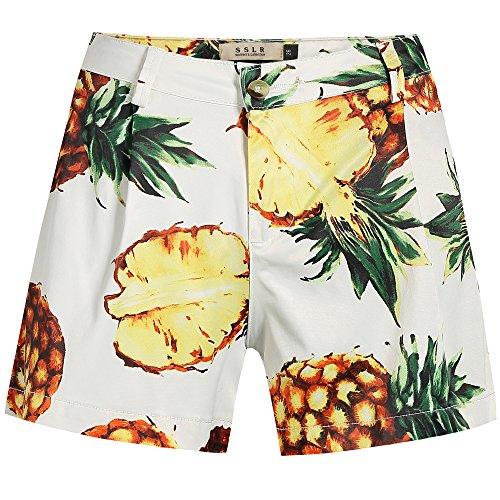 SSLR Women's Pineapples Pleated High Waist Tropical Casual Hawaiian Shorts (28, White)