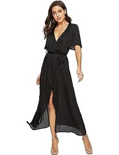 d8121e62ec2d Escalier Women's Floral Maxi Dress Split Beach Flowy Party Dresses with Belt